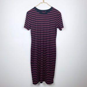 Zara Ribbed Short Sleeve Striped Fitted Midi Dress